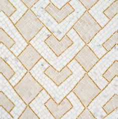 Serengeti Stripe, a hand-chopped stone mosaic, shown in tumbled Travertine White and Calacatta Gold with polished Xanadu. Designed by Joni Vanderslice as part of the J. Banks Collection for New Ravenna. Stone Mosaic, Stone Tiles, Mosaic Tiles, Tiling, Mosaics, Tribal Patterns, Graphic Patterns, Tile Patterns, New Ravenna