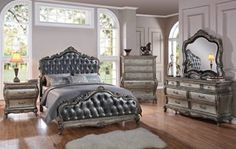 Chantelle Platinum Silver Gray Fabric Wood Master Bedroom Sets