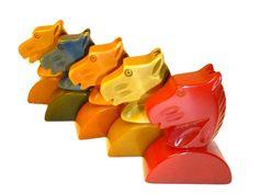 Rare Bakelite Horse Head Game Pieces.  Five Carved Horses. Plus Bonus 1.