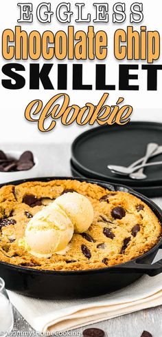 This Eggless Chocolate Chip Skillet Cookie is crispy around the edges and delightfully chewy in the center! Easy to make and easier to eat. Eggless Desserts, Eggless Recipes, My Recipes, Cookie Recipes, Dessert Recipes, Favorite Recipes, Party Recipes, Amazing Recipes, Free Recipes