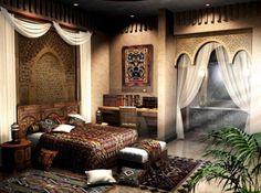 Elegant India-inspired bedroom..  love the walls!