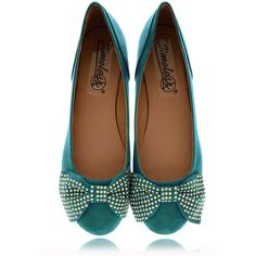 TIMELESS Liliana Teal Suede Ballerinas found on Polyvore