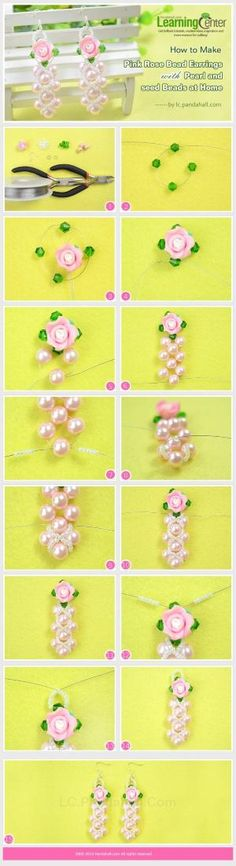 How to Make Pink Rose Bead Earrings with Pearl and Seed Beads at Home by wanting