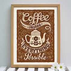 coffee makes everything possible. ☮ Coffee or Tea? Vintage art and quotes ☮ Coffee Talk, I Love Coffee, Coffee Break, My Coffee, Coffee Drinks, Coffee Shop, Coffee Cups, Coffee Lovers, Morning Coffee