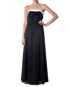 $390 Vestido de cetim opaco com pala branca - Vestidoteca