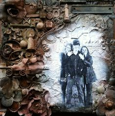 Mixed media junk to art canvas family---finished