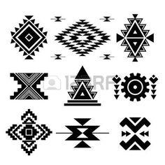 tissus ethnique: Vector abstract éléments géométriques noir isolé sur blanc