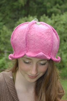 Pink Blossom Hat Wet Felted Hat MADE TO ORDER by ElisaShine, $66.00