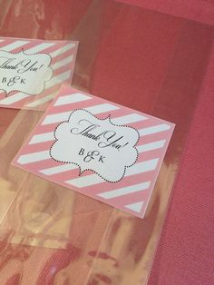 1 Candy Buffet Thank You Label and Cellophane by lovelylittleparty, $0.80