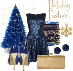 blue holiday outfit