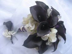 Wedding Bouquet Eggplant Calla Lilies and by DESIGNSBYDME on Etsy, $105.00