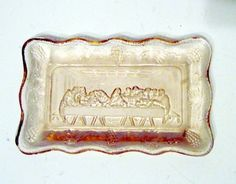 Pressed Pink Glass Pink Tray Last Supper #PressedPinkGlassPinkTrayLastSupper