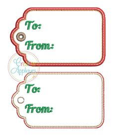 To From Gift Tag In the Hoop – Creative Appliques