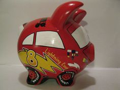 Race Car Piggy Bank- Kids Personalized Piggy Banks -  MADE TO ORDER. $42.00, via Etsy.