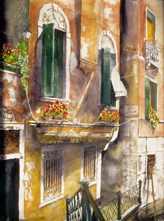 """balcony seen from the bridge 1 san polo venice 34"""" x 26"""" micheal zarowsky / watercolour on arches paper (private collection)"""