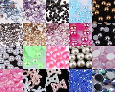 Crystal Rhinestones Gems Resin AB Pearl Nail Art Tips Phone Craft Decoration A