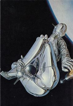 1981 PAPER MOON GRAPHICS - 'CHROMA II' CHROME EFFECT GIRL IN HEELS IN SPACE