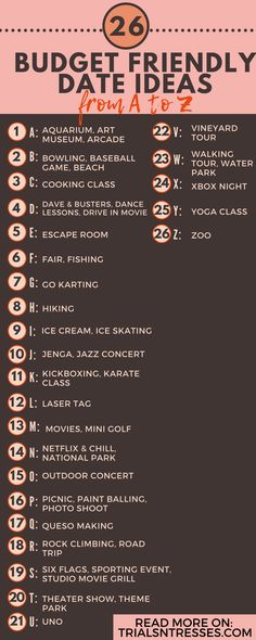 26 Budget friendly Date ideas from A To Z Related posts:Looking for creative date night ideas? Check out our Alphabet Dating ideas. -The kind of love we all aspire to. Date Ideas For Boyfriend, Date Ideas For New Couples, Date Ideas For Teens, Ideas For First Dates, Good First Dates, Teenage Date Ideas, Surprise Boyfriend, Cheap Date Ideas, Cute Date Ideas