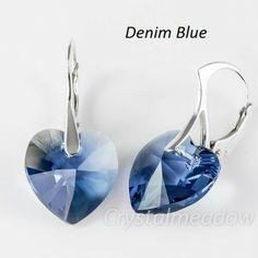 Sterling Silver Earrings *HEARTS* made with Genuine Swarovski Elements-$6.66