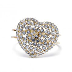 """Clear hearts can't lose! This extra-large pave heart is set on goldtone double metal bracelet with a hinge cuff. The cuff measures 2.25"""" x 2"""" and the pave heart that adorns it is 2"""" x 1.75"""".  $22.99"""