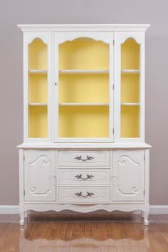Distressed White & Yellow French Provincial China by SavedSparrows China Cabinet Redo, Painted China Cabinets, Hutch Cabinet, Paint Furniture, Furniture Projects, Furniture Making, Furniture Makeover, Dresser Makeovers, Luxury Furniture