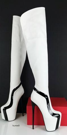 White Thigh High Boots, High Heel Boots, Heeled Boots, Shoe Boots, Black Boots, Hot High Heels, Thick Heels, Platform High Heels, Platform Boots