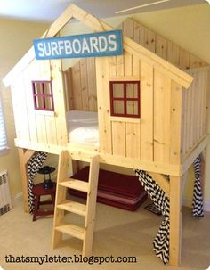 A DIY tutorial to build a kids clubhouse loft bed. Make an amazing loft space for kids that fits a twin size mattress. Pottery Barn Inspired, Pottery Barn Kids, Kids Clubhouse, Diy Fort, Ideas Habitaciones, Kids Bunk Beds, Loft Spaces, Bed Plans, Diy Bed