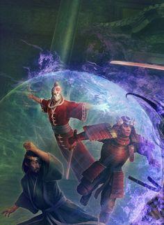 Sezaru shielding Kaneka and Naseru from Daigotsu's attack