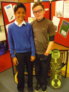 Modelling cycling and skateboarding gear as part of a display at the Year 6 Museum at St Andrews School, formed as part of the Making Museums project.