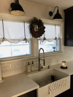 kitchen curtains DIY Tie Up Curtains Bookcases and storage systems Article Body: A Chic Master Bedroom, Bedroom Decor, Tie Up Curtains, Sunroom Curtains, Curtain Ties, Tie Up Shades, Curtain Tutorial, Farmhouse Curtains, Farmhouse Lamps