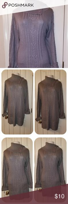 Women plus size sweater dresses Women plus size grey ribbed  sweater dresses with signs of wear. Still in good condition.  It has cuff sleeves an a button cow neck. Great with leggings or tights and boots. Size3X, Shoulder 17, Bust 25, Length 34, sleeves 27 Sweaters Cowl & Turtlenecks