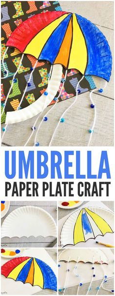 Cute Umbrella Paper Plate Craft for Kids to Make #craftsforkidstomake