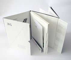 amazing idea, book broken up by one simple structure and organised into sub sections with different inserts/folds