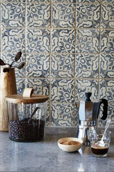 Imagine prepping your morning shot while looking at this beautiful tile. Duquesa Collection's Fatima Pattern in Mezanotte. Duquesa reinterprets, revitalizes and reinvents time-honored designs and styles with bright colors and contemporary geometric design.