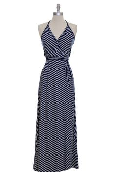 HALTER WRAP MAXI DRESS IN NAVY : Love the stripe!