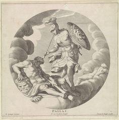 Egbert van Panderen | Minerva, Egbert van Panderen, Clement de Jonghe, c. 1590 - 1637 | Wolkendek met Minerva in wapenrusting, blazend op een bazuin. Naast haar de slapende Hercules. De voorstelling is gevat in een ronde omlijsting. Eerste prent uit een serie van drie met godinnen.