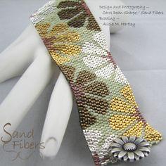 Peyote Pattern Mixed Metal Blooms Peyote Cuff / by SandFibers