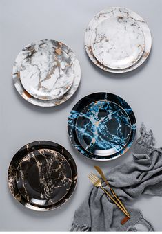Luxury Design and High quality finished Gold Marble Plates set.