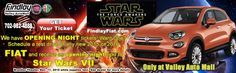 We have tickets to opening night of Star Wars VII at Brenden Theater on December 17 at 8 PM. Want one? Call 702-982-4888 or click to schedule a test drive of a new 2015 or 2016 FIAT http://www.fiatusaofhenderson.com/contact-form.htm