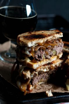 Patty Melts with sweet pickle beef patties. <3