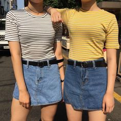 Striped shirts and denim skirts | Spring Outfits 2018 | Summer Fashion for Women and Teens