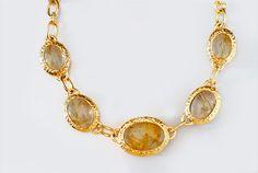 Karin Jamieson 18k hammered yellow gold and rutilated quartz necklace; $18,000 #KarinJamieson #yellowgold #quartz