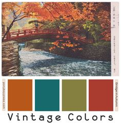 ༺༺༺♥Elles♥Heart♥Loves♥༺༺༺ ............♥Color Charts♥............ #Color #Chart #ColorChart #Inspiration #Design #Moodboard #Paint #Palette #Decorate #Art #Renovate ~ ♥Bridge in Autumn Vintage Color Palettes on Ponyboy Press blog