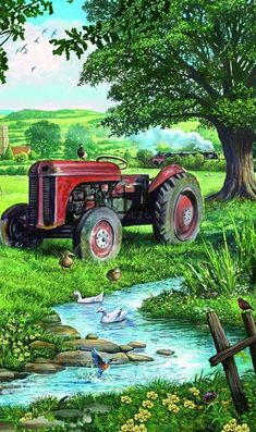 old farm tractor Tractor Pictures, Farm Pictures, Scenery Paintings, Landscape Paintings, Country Art, Country Life, Farm Art, Vintage Tractors, Country Scenes