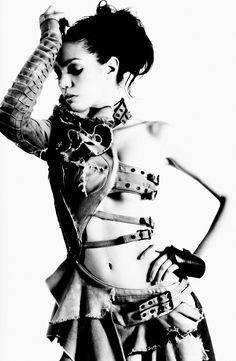   Post-apocalyptic Avant-Garde Fashion   #clothing #fashion #woman #photography #belt #bw