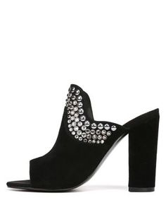 e7c52632916 Fergie - Lillie Studded Crystal Suede Mules