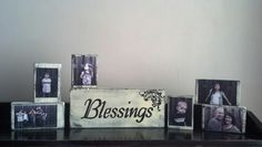 DIY Wood Picture Blocks:   The Blessings block is a 2 x 6 and the picture blocks are 2 x 4's.  I just mod podged the pictures to the blocks.  Paint the first color (I used black) on the blocks, let dry, and paint the top color (I used cream), then sand to distress.  I printed the Blessing and decoration on a regular printer and used a ball point pen to imprint the font/picture onto the wood.  Then I hand painted it.  Super Easy!  Tip:  Use store printed pictures; they won't smear.