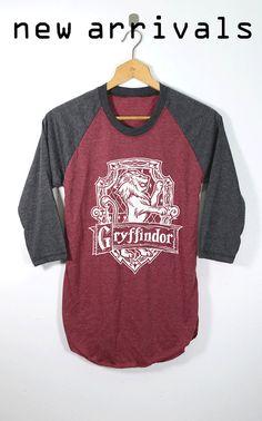 NUEVA camisa de Gryffindor Harry Potter camisas béisbol O cuello Raglan manga tamaño adulto Unisex S M L