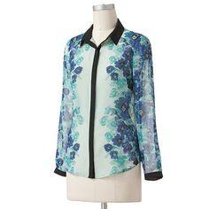 $30.80 XL LC Lauren Conrad Floral Chiffon Blouse