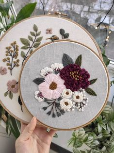 Flower embroidery patterns & kits - floral stitches for your home - Pumora - pink and burgundy peonies by Vingert - Floral Embroidery Patterns, Embroidery Stitches Tutorial, Embroidery Flowers Pattern, Simple Embroidery, Hand Embroidery Designs, Embroidered Flowers, Pattern Flower, Creative Embroidery, Japanese Embroidery